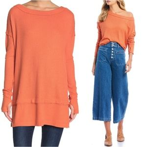 Free People Orange North Shore Thermal Top Tunic